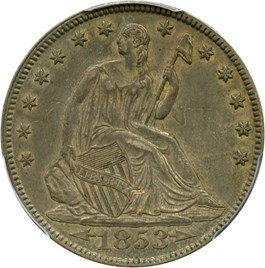 Image of 1853 50c PCGS/CAC AU53 (Arrows & Rays)