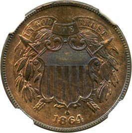 Image of 1864 2c NGC MS64 RB (Large Motto)