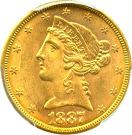 Image of 1887-S $5 PCGS MS63