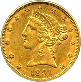 Image of 1891-CC $5 PCGS/CAC AU53 - No Reserve!