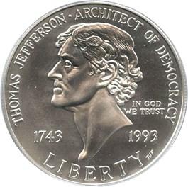 Image of 1993-P Jefferson $1 PCGS MS69