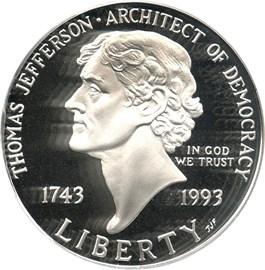 Image of 1993-S Jefferson $1 PCGS Proof 69 DCAM