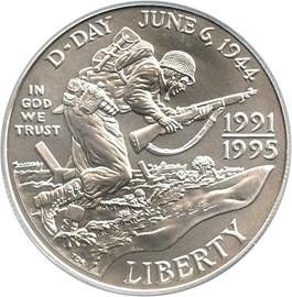 Image of 1991-95-D World War II $1 PCGS MS69