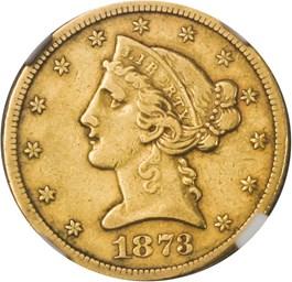 Image of 1873-S $5 NGC XF40