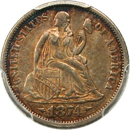 Image of 1874-CC 10c PCGS XF45 (Arrows)