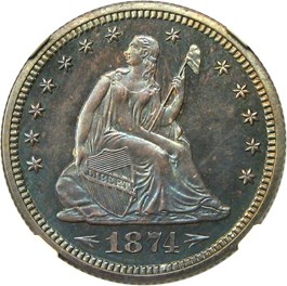Image of 1874 25c NGC Proof 65 (Arrows)