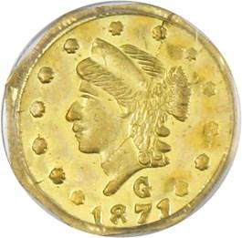 Image of 1871 Cal. Gold 25c PCGS MS63 (BG-765)