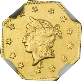 Image of California Fractional Gold: 1858 $1 NGC MS62 (Octagonal Liberty, BG-1306, Kroll Hoard)