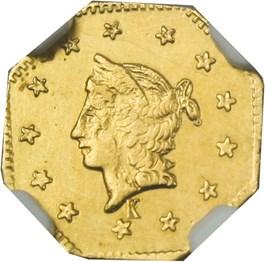 Image of California Fractional Gold: 1858 $1 NGC MS62 (Octagonal Liberty, BG-1306, Kroll Hoard)