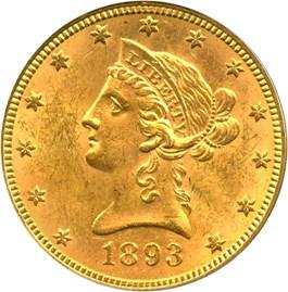 Image of 1893 $10 PCGS MS62