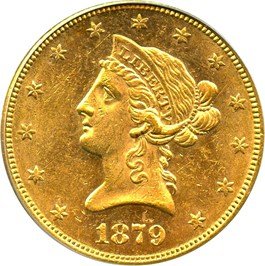Image of 1879 $10 PCGS MS62