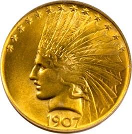 Image of 1907 $10 PCGS MS63 (No Motto) (OGH)