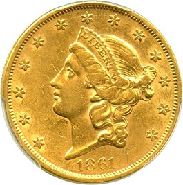 Image of 1861 $20 PCGS AU50
