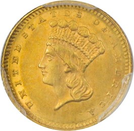 Image of 1862 G$1 PCGS AU58