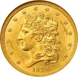 Image of 1838 $5 NGC MS62