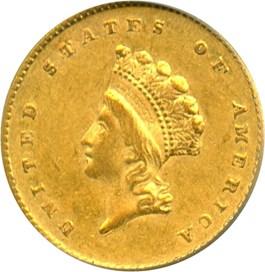 Image of 1855 G$1 PCGS AU53 (Type 2)