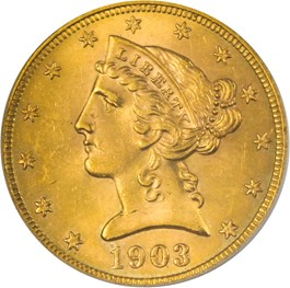 Image of 1903-S $5 PCGS/CAC MS64
