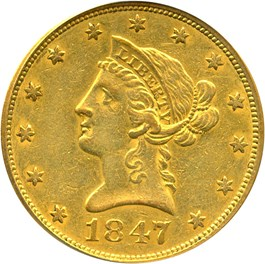 Image of 1847 $10 PCGS XF40