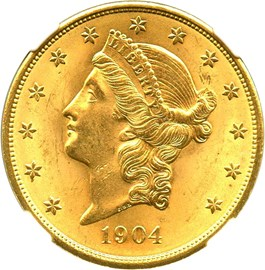 Image of 1904 $20 NGC/CAC MS64+