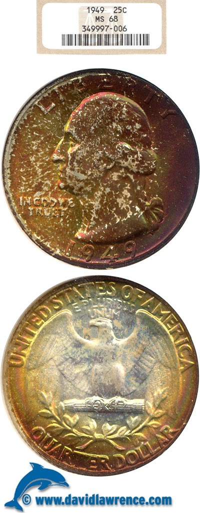Image of 1949 25c  NGC MS68 ** Color **