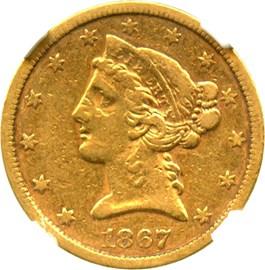 Image of 1867-S $5 NGC XF45