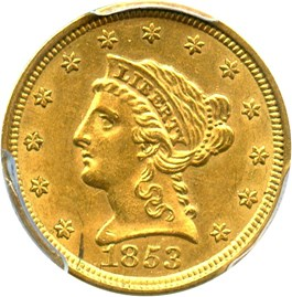 Image of 1853 $2 1/2 PCGS AU58