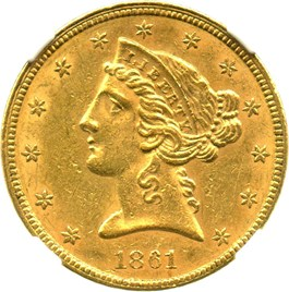 Image of 1861 $5 NGC/CAC AU58