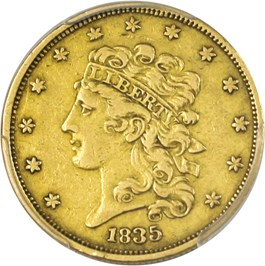 Image of 1835 $5 PCGS XF40