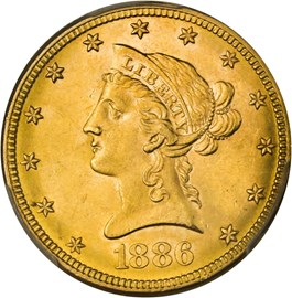 Image of 1886 $10 PCGS MS63