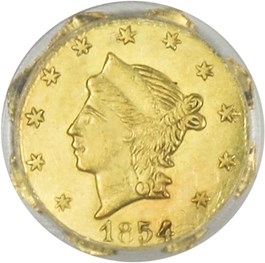 Image of California Gold: 1854 25c PCGS MS62 (BG-108)