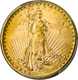 Image of 1920 $20 PCGS MS63+