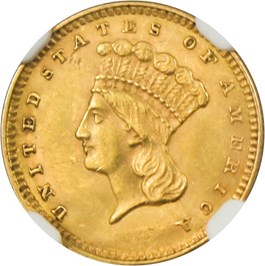Image of 1857 G$1 NGC MS61