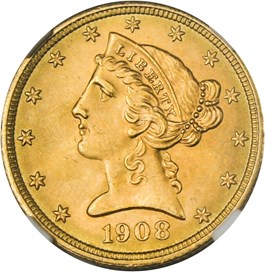 Image of 1908 Liberty $5 NGC MS65