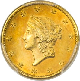 Image of 1849 G$1 PCGS MS62 (No L)