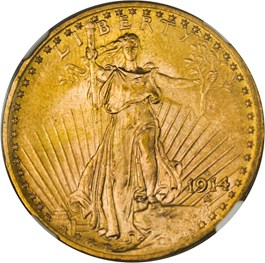 Image of 1914-D $20 NGC MS65