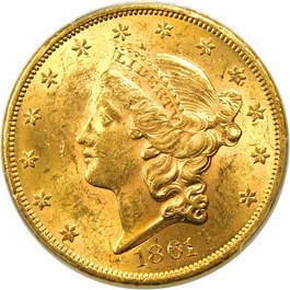 Image of 1861 $20 PCGS/CAC MS60