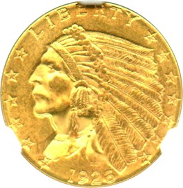 Image of 1926 $2 1/2 NGC/CAC MS64