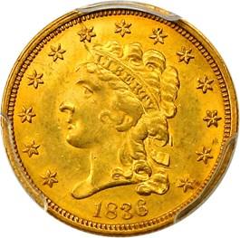 Image of 1836 $2.50 PCGS MS64 (Script 8)