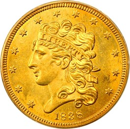 Image of 1838 $5 PCGS MS63