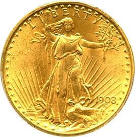 Image of 1908 $20 PCGS MS65 (No Motto) - No Reserve!