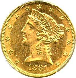 Image of 1881 $5 PCGS MS63