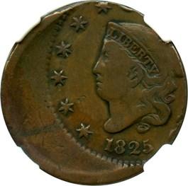 Image of Mint Error: 1825 1c NGC Fine Details (Struck Off Center, Obverse Scratched)