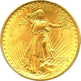 Image of 1908 $20 PCGS MS65 (No Motto)