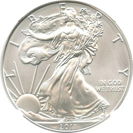 Image of 2011-W 25th Anniversary Silver Eagle $1 NGC MS70