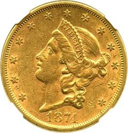 Image of 1874-S $20 NGC AU55