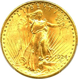 Image of 1924 $20 PCGS MS65