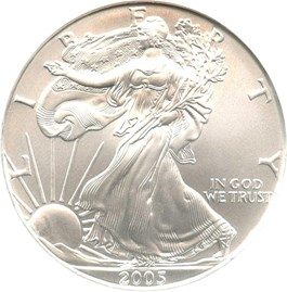 Image of 2005 Silver Eagle $1 NGC MS69 First Strike