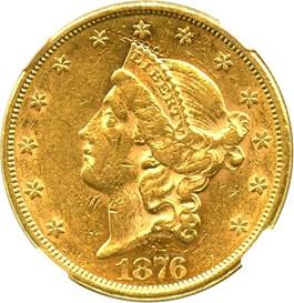 Image of 1876 $20 NGC AU53