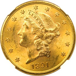 Image of 1891-S $20 NGC/CAC MS64