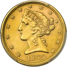 Image of 1895 $5 PCGS/CAC MS64